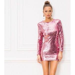NWT Superdown Pink Long Sleeve Sequin Mini Dress